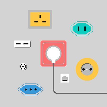 Illustratie met stopcontacten. Verschillende stopcontacten wereldwijd.
