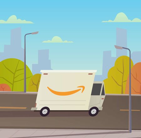 Delivery truck with city landscape.