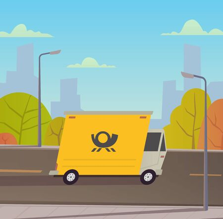 Delivery truck with city landscape. Stock fotó - 129291640