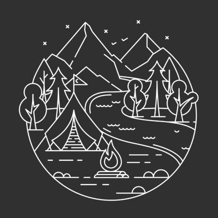 Vector illustration, camping in a forest. Line art. Illustration