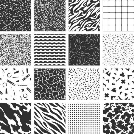 Colección de patrones retro de memphis. Texturas en blanco y negro.