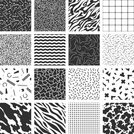 Collection of retro memphis patterns. Black and white textures.
