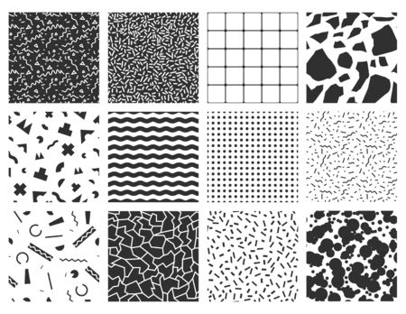 Memphis seamless patterns with geometric. You can use these patterns as banners, business cards, festive decorations, greeting cards and for your ideas.