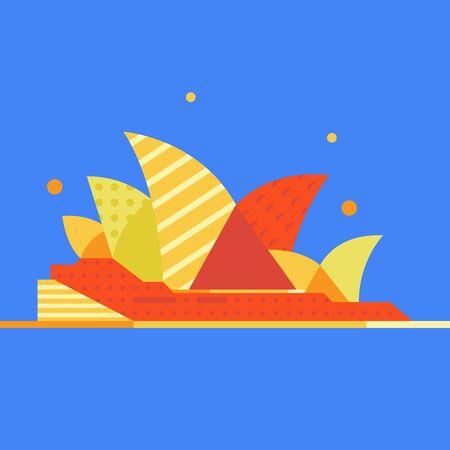 Sydney opera building. Vector flat illustration. 向量圖像