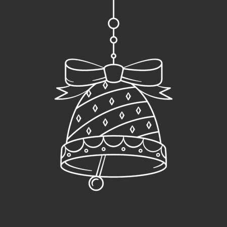 Christmas bell. Winter mood illustration. Vector line art icon 일러스트