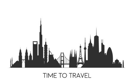 World skyline. Travel and tourism background. Vector flat illustration