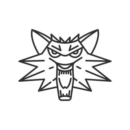 Wolf head, Line art illustration Vektorgrafik