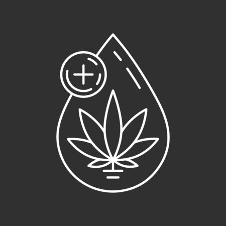 Icon of cannabis oil. CBD oil symbol. Line art illustration. 向量圖像