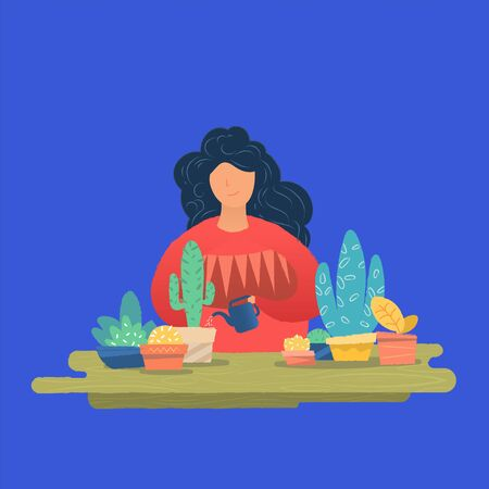 Young woman watering houseplants. Vector illustration in flat style Ilustração