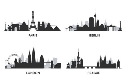 European cities. Black and white skylines.