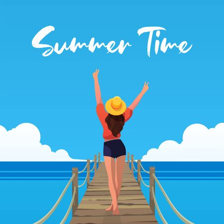 Happy girl on the beach. Summer Vibes. Vector illustration.