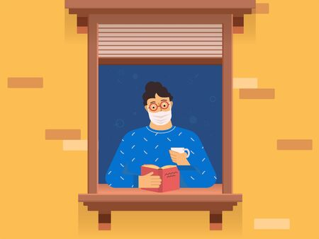 Man stay home and read a book. Vector illustration. Imagens - 144133356