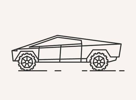 Modern car illustration. Outline style icon Imagens - 144149259