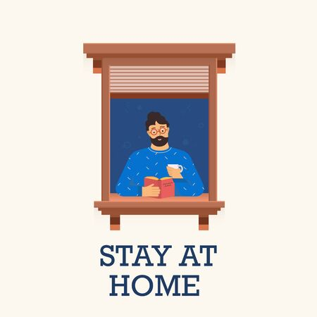 Man stay home and read a book. Vector illustration.
