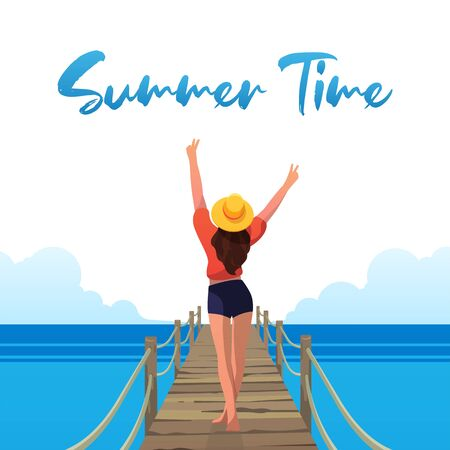 Happy girl on the beach. Summer Vibes. Vector illustration. 写真素材 - 144340265