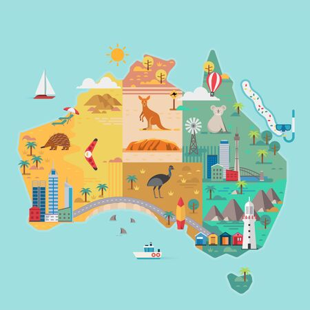 Map of Australia. Colorful landmarks. Vector illustration
