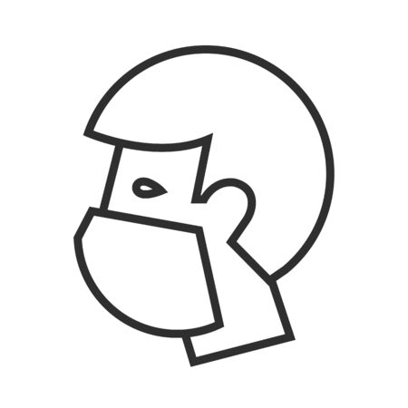 Man in medical face mask. Vector icon.