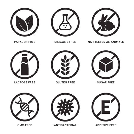 Set of icons Gluten Free, Lactose Free, GMO Free, Paraben, Food additive, Sugar free, Not Tested on Animals, Antibacterial, Silicone vector icons Ilustração