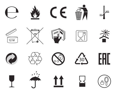Set of Packaging Symbols. Handbook general symbols.