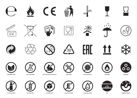 Set of Packaging Symbols. Handbook general symbols. Gluten, Lactose, GMO, Paraben, Silicone , SLS, Sugar free, Food additive, Not Tested on Animals, Antibacterial, Protein, Fat Carbohydrate icons. Ilustração