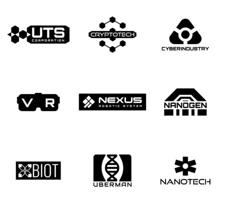 Sci-fi and cyberpunk logos. Logos of fictional corporations. Vector icons