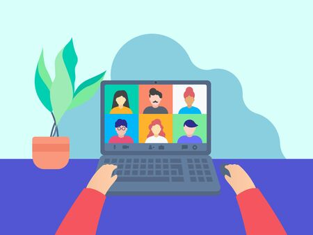 Colleagues talk to each other through video call, Online Class. Working from home. Imagens - 146576496