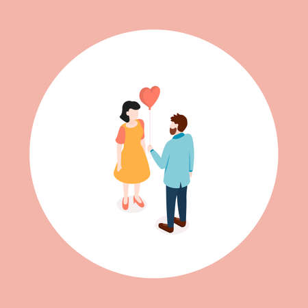 Couple in love. Dating. Isometric vector illustration.
