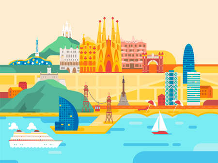 Barcelona city. Travel and tourism background. Imagens - 155126076