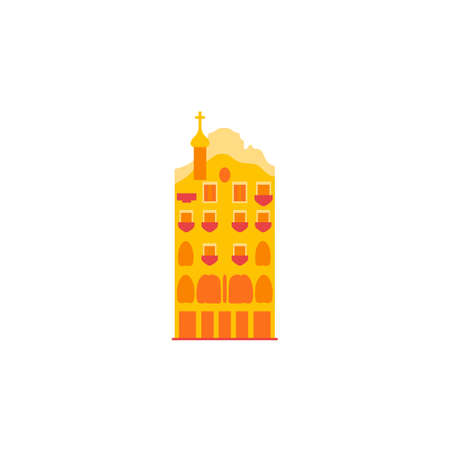 Vintage yellow building. Vector icon