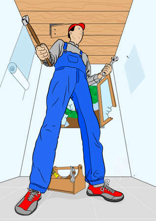 dungarees: home improvement Illustration