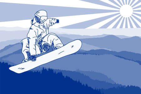 snowboarder in mountains Illustration