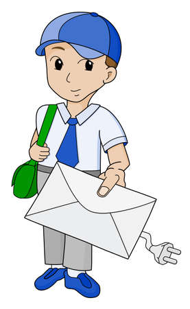 postman with email  Vector