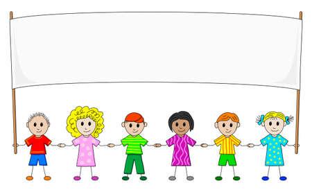 children group: children in a row with banner