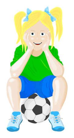 futbol soccer dibujos: niña sentada en una bola