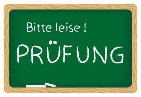 illustration of blackboard Bitte leise! Prüfung  (please be quiet, examination) Stock Vector - 18127345