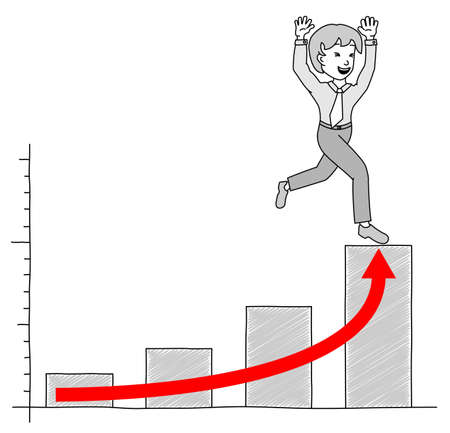 growing success: illustrated chart with businessman