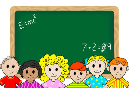 empty classroom: illustration of children in front a blackboard