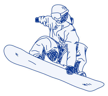 sketch of a snowboarder