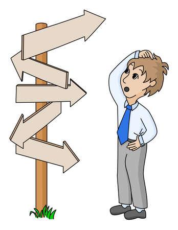 cruce de caminos: hombre ilustrado negocios a buscar la forma