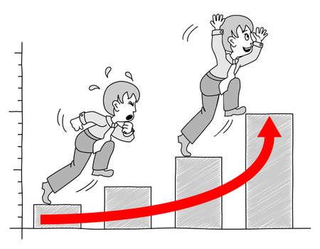 crisis economica: gráfico ilustra con el empresario Vectores