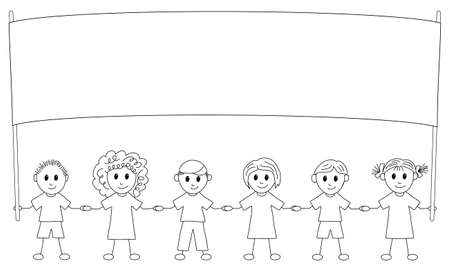 illustration of children with banner to paint Vector