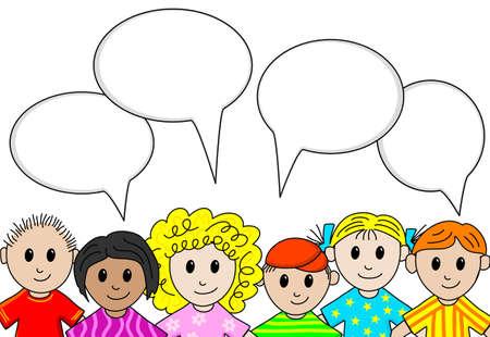 niños platicando: Ilustración de las personas con burbujas de discurso