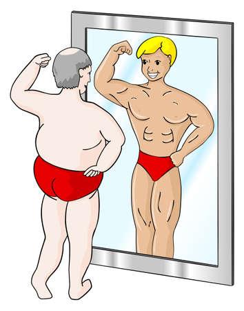 spiegelbeeld: een dikke man, die ziet zichzelf anders in de spiegel