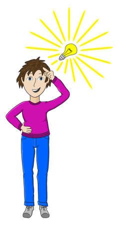 a woman has a new idea Stock Vector - 18372978