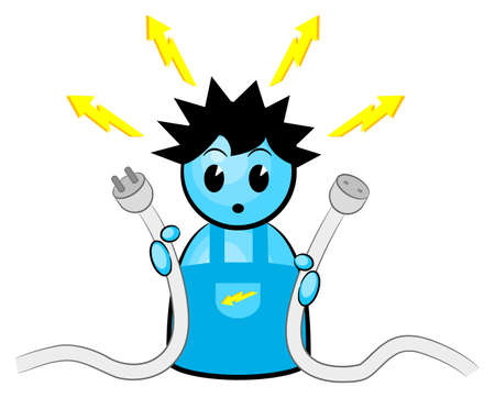 electrical safety: illustration of an electrician who gets an electric shock