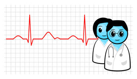 illustration of a doctor and nurse with ecg curve