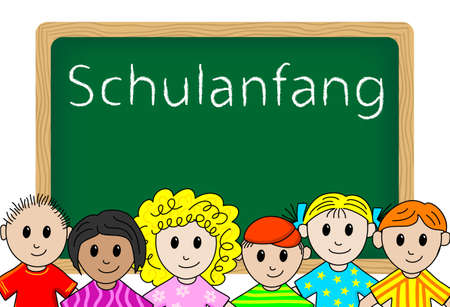 german start of school  Schulanfang  Schulbeginn Illustration