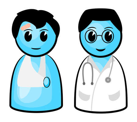 sick people: vector illustration of a doctor and his patient