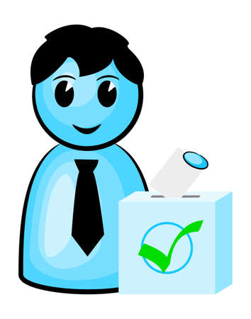 encuestando: ilustración de un votante en las urnas