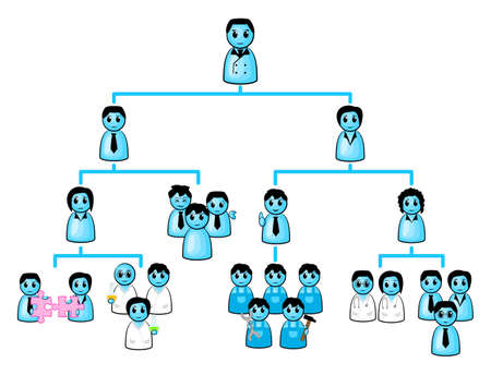 illustration of a organization chart of a company Illustration